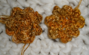 crocheted flowers yarn spun from hand dyed silk hankies